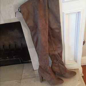 Shoes - New Over The knee Boots NWT Taupe/Tan Suede